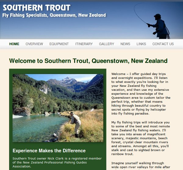Home page of Southern Trout fly fishing Queenstown NZ