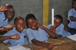 School children in Darbonne, Haiti with stationery donated by New Zealanders