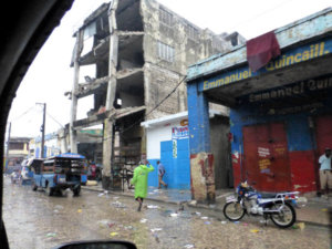 Street in Haiti showing earthquake damage