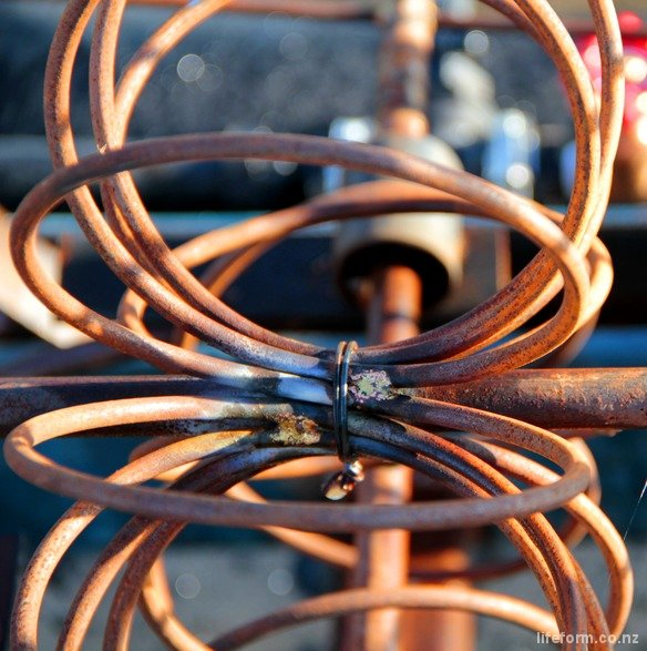 A sprial of reinforcing steel