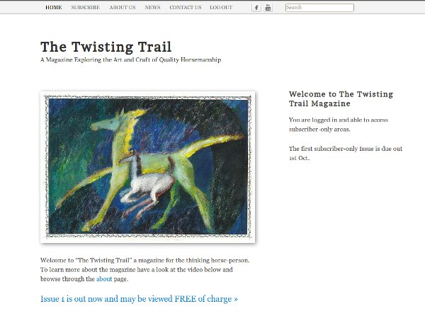 Front page of the Twisting Trail website
