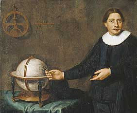 Ye olde picture: Abel Tasman points to a globe