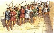 a crows of angry romans rioting