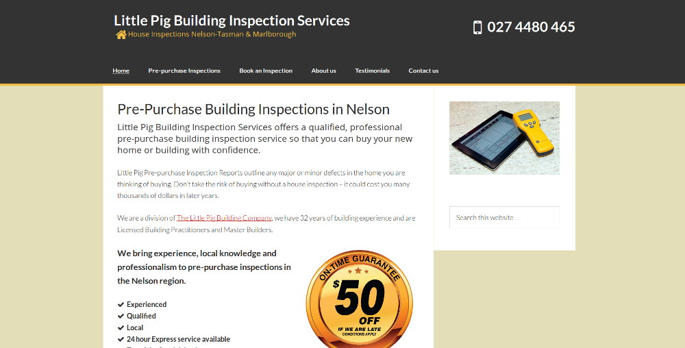 Screenshot of the Little Pig Building Inspection Services website