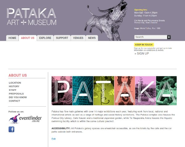 Page from the Pataka website