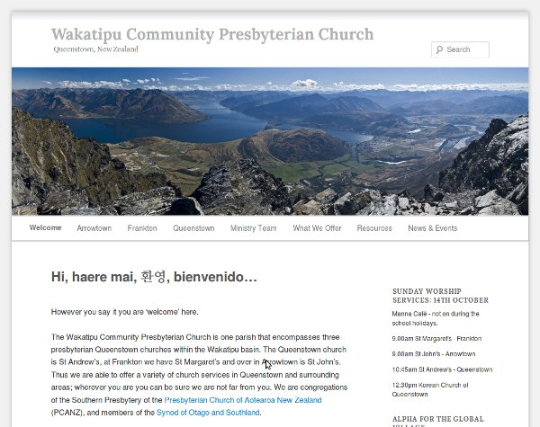 Wakatipu Community Presbyterian Church website