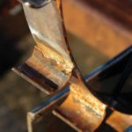Close up of water wheel construction