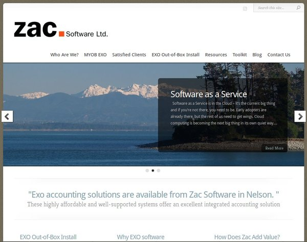 Front page of Zac Software Ltd website